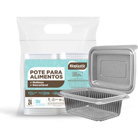 Pote Descartavel 500Ml.retang.tampa Articulada Rioplastic