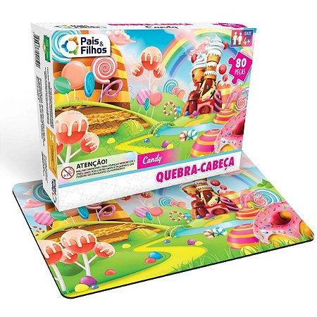 Quebra-Cabeca Cartonado Candy 80 Pecas Pais E Filhos
