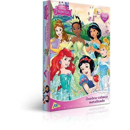 Quebra-Cabeca Cartonado Princesas Metalizado 100 Pecas Toyster