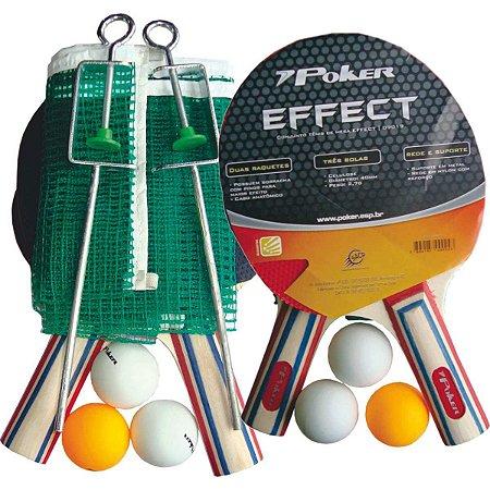 Raquete Para Ping Pong Conj. Raquete+3Bolas+Suporte Poker