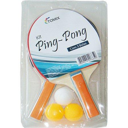 Raquete Para Ping Pong Kit 2 Raquetes C/3 Bolinhas Tomix