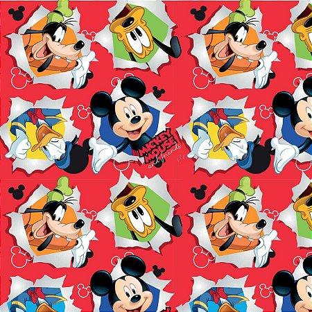 Saco Metalizado 25X37Cm Mickey Friendship Vermelho Cromus