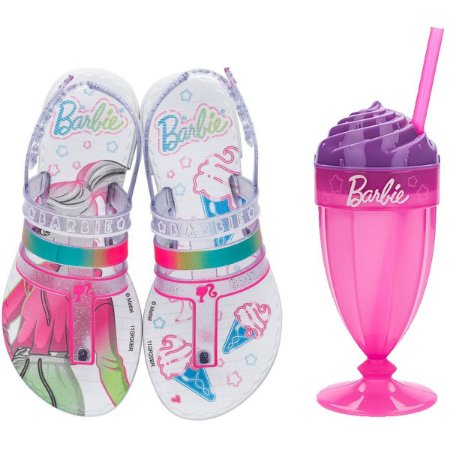 Sandalia Infantil Barbie Milkshake Branca/rosa Grendene