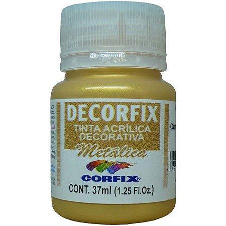 Tinta Acrilica Metalica Decorfix Ouro Palido 37Ml. Corfix