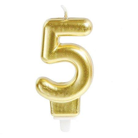 Vela Para Aniversario N.05 Perolizada Ouro Cromus
