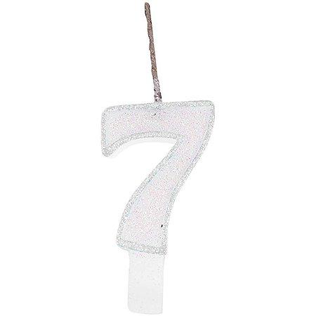 Vela Para Aniversario N.07 Glitter Branca Festcolor