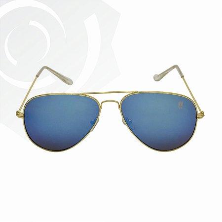Óculos De Sol Presence Dourado e Preto Polo Wear 22168