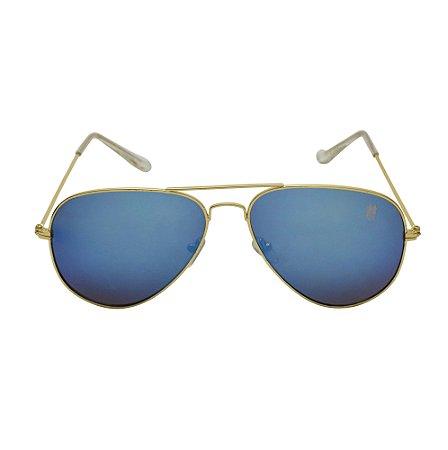 Óculos De Sol Woman Azul Dourado Di Fiori 23534
