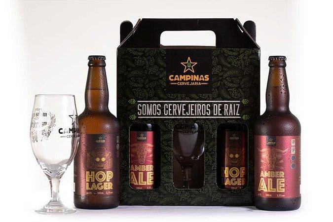 KIT de Cerveja Artesanal Ideal para um Churrasco com 2 Garrafas 500ml + 1 Taça de Cerveja