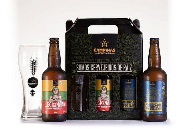 KIT de Cerveja Artesanal de Trigo com Copo de Cerveja e 2 Garrafas 500ml