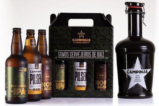 KIT de Cerveja Artesanal com Growler de Cerâmica 2 Litros