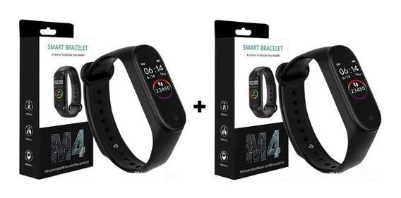 Kit 2 Relógios Pulseiras Inteligentes M4 Smartband Batimentos Cardíacos Bluetooth