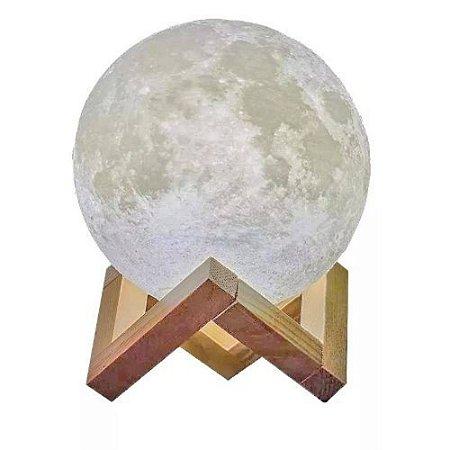Luminária Lua Cheia 3D com Suporte a Bateria de Relógio * Inclusa * Liga e Desliga Importada