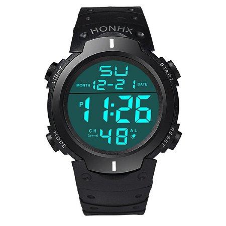 Relógio Honhx Digital, Lcd, Prova D'Água, Data, Cronômetro e Esportivo Importado