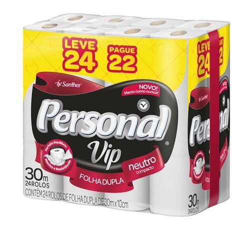PAPEL HIGIÊNICO PERSONAL VIP FOLHA DUPLA C/ 24 ROLOS