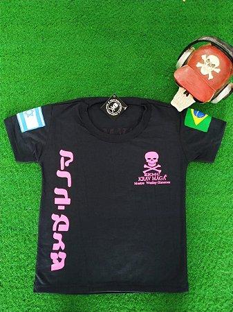 Camiseta PV Infantil Caveira Rosa