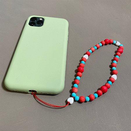 Phone Strap com esferas de vidro(tipo murano) multicores.