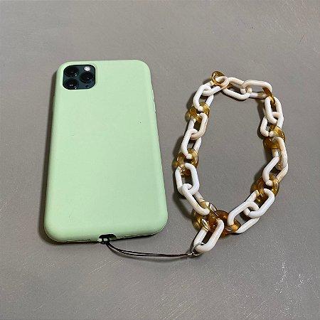 Phone Strap com elos em polímero bege.