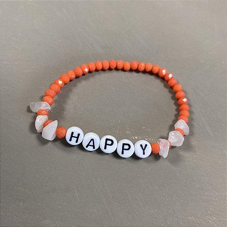 Pulseira de cristais tchecos lapidados laranja,cascalhos e pingentes escrito HAPPY.