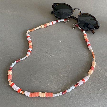 Cordão de óculos e cordão de máscara de miçangas crus e alaranjadas e borrachinhas indianas em tons de laranja