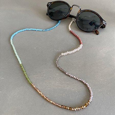 Cordão de óculos e cordão de máscara de cristais tchecos lapidados multicores.