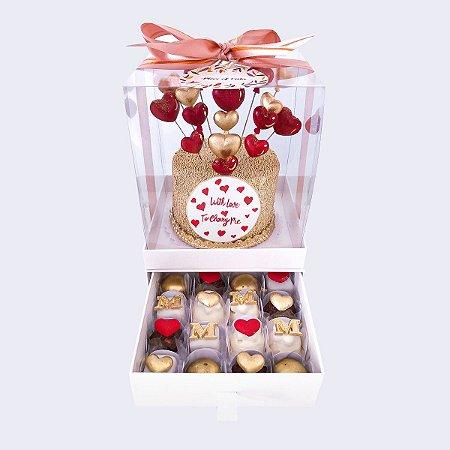Mini bolo Corações 10cm  + 16 doces