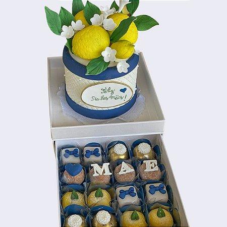 Kit  Mini Bolo Limão Siciliano 10 cm + 16 doces