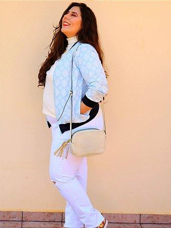 Jaqueta Nancy em Arabescos Branco e Azul Bebê