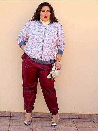 Jaqueta Nancy em Losangos Branco, Cinza e Rosa