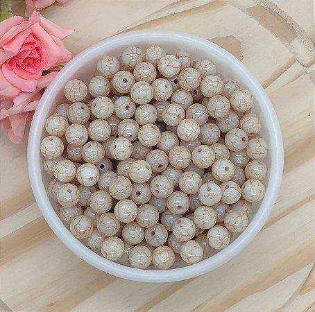 Miçanga Tipo Cerâmica Craquelada - Marfim - 10mm - Pacote 30 gramas