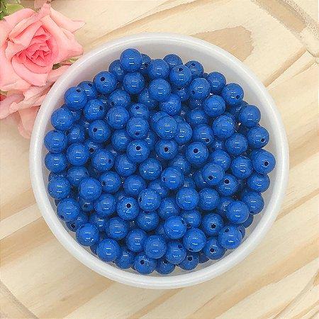 Miçanga Tipo Cerâmica Craquelada - Azul Royal - 10mm - Pacote 30 gramas