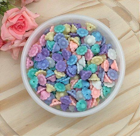 Miçanga Florzinha Candy Colors - Pacote 30 gramas