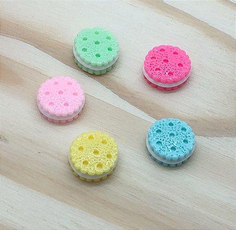 Aplique de Resina - Biscoito Colorido - 5 unidades Sortidas