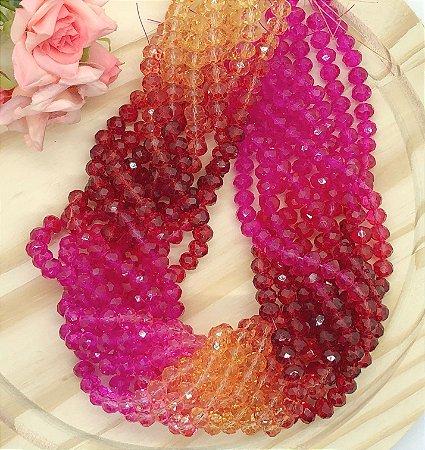 Fio de Cristal - Miçangas de Vidro - Rosa Amarelo e Vermelho - Aproximadamente 30 gramas