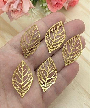 Folhas Douradas - 2x3,5cm - 5 unidades