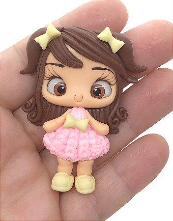 Aplique de Biscuit - Meninas com Vestido de Tricô Rosa Claro - Unidade