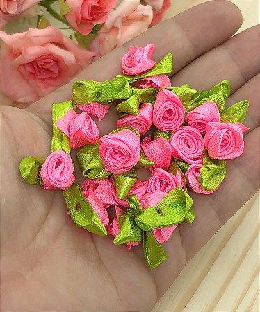 Florzinha Rococó com Folhas - Rosa Chiclete - Pacote 20 unidades