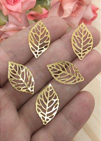 Folhinhas de Metal - Dourada - 2,5x1,5cm - 10 unidades