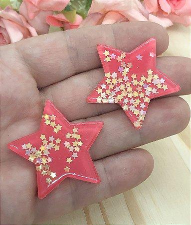 Aplique de Estrela - Vermelha - 2 unidades