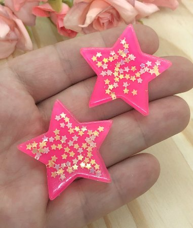 Aplique de Estrela - Rosa Pink - 2 unidades