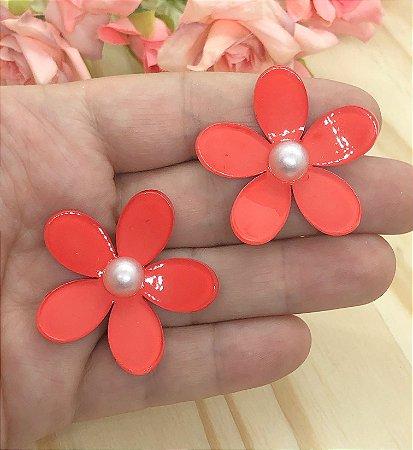 Aplique de Acrílico - Florzinha 3D com Pérola - Vermelha - 2 unidades