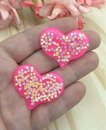 Aplique de Coração de Estrelinhas - Rosa Pink - 2 unidades