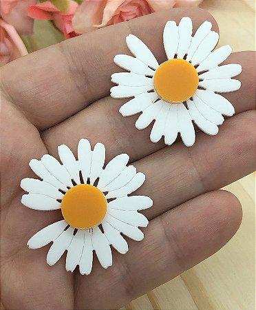 Aplique de Acrílico - Flor Bem-Me-Quer - Branca - 2 unidades