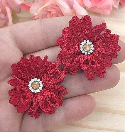 Aplique de Flor de Tecido com Strass - Vermelha - 2 unidades