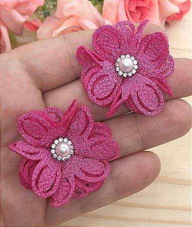 Aplique de Flor de Tecido com Pérola - Rosa Pink - 2 unidades