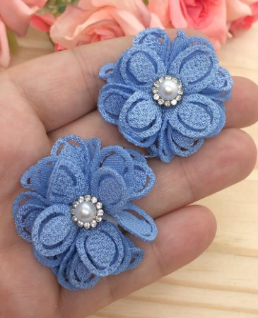 Aplique de Flor de Tecido com Pérola - Azul - 2 unidades