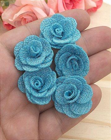 Florzinhas de Tecido - Azul Claro - 3cm - 5 unidades