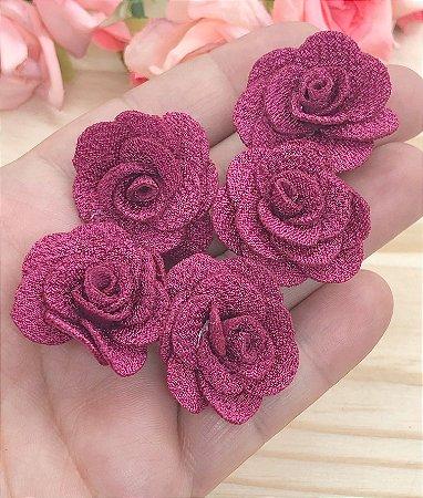 Florzinhas de Tecido - Vinho - 3cm - 5 unidades