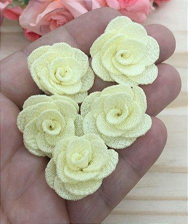 Florzinhas de Tecido - Amarelo Bebê - 3cm - 5 unidades