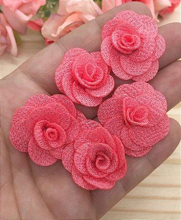 Florzinhas de Tecido - Coral - 3cm - 5 unidades